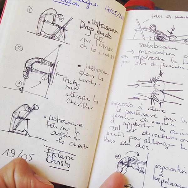 carnet et notes de séminaire de formation Iyengar